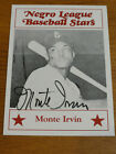 Signed 1986 Negro Leagues Fritsch MONTE IRVIN #6 Giants Newark Eagles Autograph