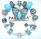 Authentic Pandora Silver Bracelet LOVE HEART With TURQUOISE European CharmsNIB