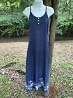 Vtg Long Maxi Denim Dress 6 Summer Blue Jean Spaghetti Strap Floral Design Slit