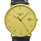 Auth Longines L4.692.6 Gold Dial 18KYG/Leather Quartz Men's Watch G#86757