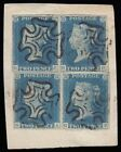 SG6 1840 2d Pale blue plate 1 two pairs GA GB and GC GD fine margins