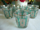 8 Vintage Libbey EMERALD Gold Rocks Old Fashioned Glasses Barware Turquoise 1961
