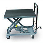 500 Lb Gray Hydraulic Table Cart Heavy Duty Steel Hand Lever Foot Pedal Lift