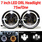 7 inch Angel Eye LED Headlights DRL Round Hi/Lo Beam For Jeep Wrangler Offroad