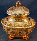 Antique Czech Bohemian Glass Amber Cut to Clear Covered Candy Dish Jar Stag ++