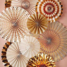 8Pcs Set Fiesta Gold Paper Fans Baby Shower Wedding Party Hanging Decorations US