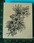 POINSETTIA FLOWERS with PINE and HOLLY Christmas Rubber Stamp by Northwoods