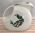 Fiestaware Holly and Ribbon Large Disc Pitcher Fiesta White Holiday Pitcher