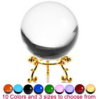 Crystal Ball Sphere for Feng Shui Meditation Decor with Golden Flower Stand