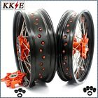 KKE 3.5/5.0*17 FIT KTM690 SMC ENDURO R SUPERMOTO CUSH WHEELS RIMS SET ORANGE NIP