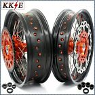 KKE 3.5/5.0*17 SUPERMOTO CUSH WHEELS SET FIT KTM690 ENDURO R 300MM ORANGE DISC