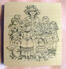 TEACHER SURROUNDED BY HAPPY STUDENTS NEW RUBBER STAMP SCHOOL PEDDLERS PACK