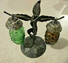 Vintage Glass Hanging Grapes Salt and Pepper Shakers 3 Piece set