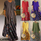 Plus Size Womens Boho Long Sleeve Baggy Kaftan Ladies Summer Long Maxi Dresses