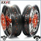 KKE 3.5/5.0*17 SUPERMOTO CUSH WHEELS SET FIT KTM690 SMC 320MM DISC ORANGE NIPPLE