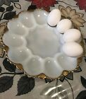 Vintage Anchor Hocking Milk Glass w/Gold Accent Devil Egg Plate 10