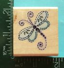 STITCHED DRAGONFLY Rubber Stamp by STAMPENDOUS Insect Bug Flower Garden
