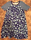 BNWOT LuLaRoe Cobalt Blue Floral with Striped Sleeves Size Small