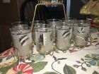 Vintage Mid Century Drinking Glasses Set Of 8 With Caddy Leaves Holder