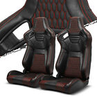 Pairs Black+Red Stitching PVC leather L R Racing Bucket Seat+Slider