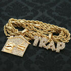 14k Gold Plated Fully Cz Trap letter House 2 Pendant Set Hip Hop 24 Rope Chain