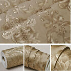 10M Luxury 3D Damask Embossed Wallpaper Gold Metallic Textured Wall Paper Roll