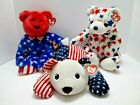 Ty Beanie Baby Buddies Pillow Pal Bears Red Blue Liberty White Sparkler Plush