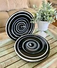 4 Vintage Studio Art Glass Dinner Plates Black and White Spiral Swirl Abstract