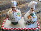 GANZ Bella Casa CHEF Salt and Pepper Shakers with Plate RETIRED