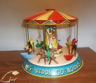 VERY NICE UNIQUE TIN KIDDY MERRY GO ROUND COMPLETE WORKS CHEIN TYPE