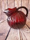 Vintage Large Ruby Red Swirl Ball Tilted Pitcher with Ice Lip