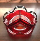 Red Glass Candy Dish Handle 3 Compartment