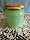 Anchor Hocking Jadite grease jar with tulips on lid very good cond.