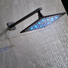 LED 16 in Shower Head Wall Mount Shower Arm Black Rainfall Shower Top spray Tap
