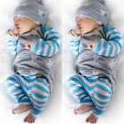 USA Newborn Baby Girl Boy Clothes Tops Romper Striped Pants Leggings Outfits Set