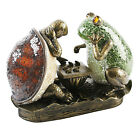 ART DECO BRONZE FROG  TORTOISE LAMP TIFFANY CRACKLE GLASS TABLE SIDE LIGHTNEW