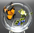 Fabulous MAGNUM Victor TRABUCCO Berries and BUTTERFLY Art Glass PAPERWEIGHT