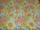 Neat VTG mod flower power Flannel retro floral design bed sheet 80x88 inches
