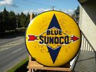 XL ~16'' BLUE SUNOCO OLD PORCELAIN METAL SIGN GAS OIL PUMP STATION LUBE GARAGE