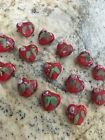 HOT 14 Beads Red Heart with pink flower lampwork glass 15mm Beads