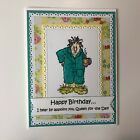 Birthday Card Funny Girlfriend Queen for the Day Handmade Stamped w envelopes