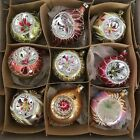 Vintage SET 9 POLAND HAND BLOWN GLASS CHRISTMAS INDENTSORNAMENTS 3 4