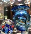 3 Murano Hand Blown Art Glass Fish Bowl Vase Fish Theme Paperweights Package