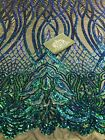 Green Iridescent Phoenix Flames Design With Sequin On 4 Way Stretch Yard HafYar
