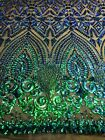 Green Iridescent Diamond Design With Sequin On 4 Way Stretch Geometric Sequin
