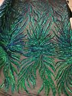 Green Iridescent Phoenix Feather Sequin Design With Sequin On 4 Way Stretch Prom