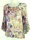 Lucky Brand Womens LARGE Off White PINK Floral Flowy Sleeves Blouse Top