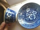 Antique Pearlware Tea Cup Saucer Blue and White Transferware flowers in basket