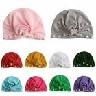 Kids Girls Turban Crystal Pearl Bowknot Headwrap Bunny Rabbit Ear Hat Cross Cap
