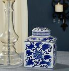 9 Tall Blue  White Asian Floral Jar With Lid Hand Panted Porcelain Beautiful